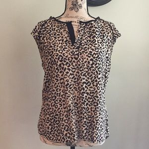Pale pink and black leopard blouse